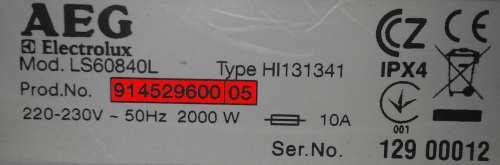 servisný štítok práčky aeg electrolux